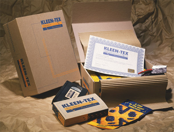 Logo brand and packaging for Kleen-Tex. Dealer partnership promotion