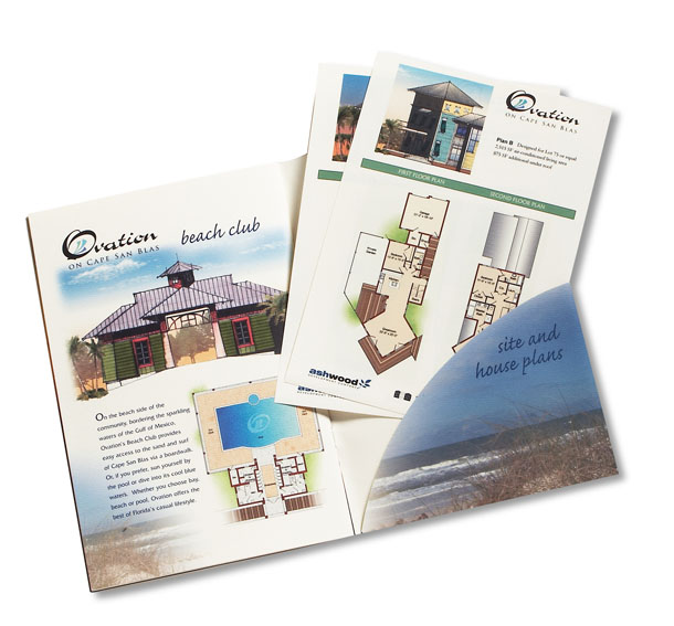 Ovation at Cape San Blas, Home Community sales brochure detail illustrations for a Ashwood Development