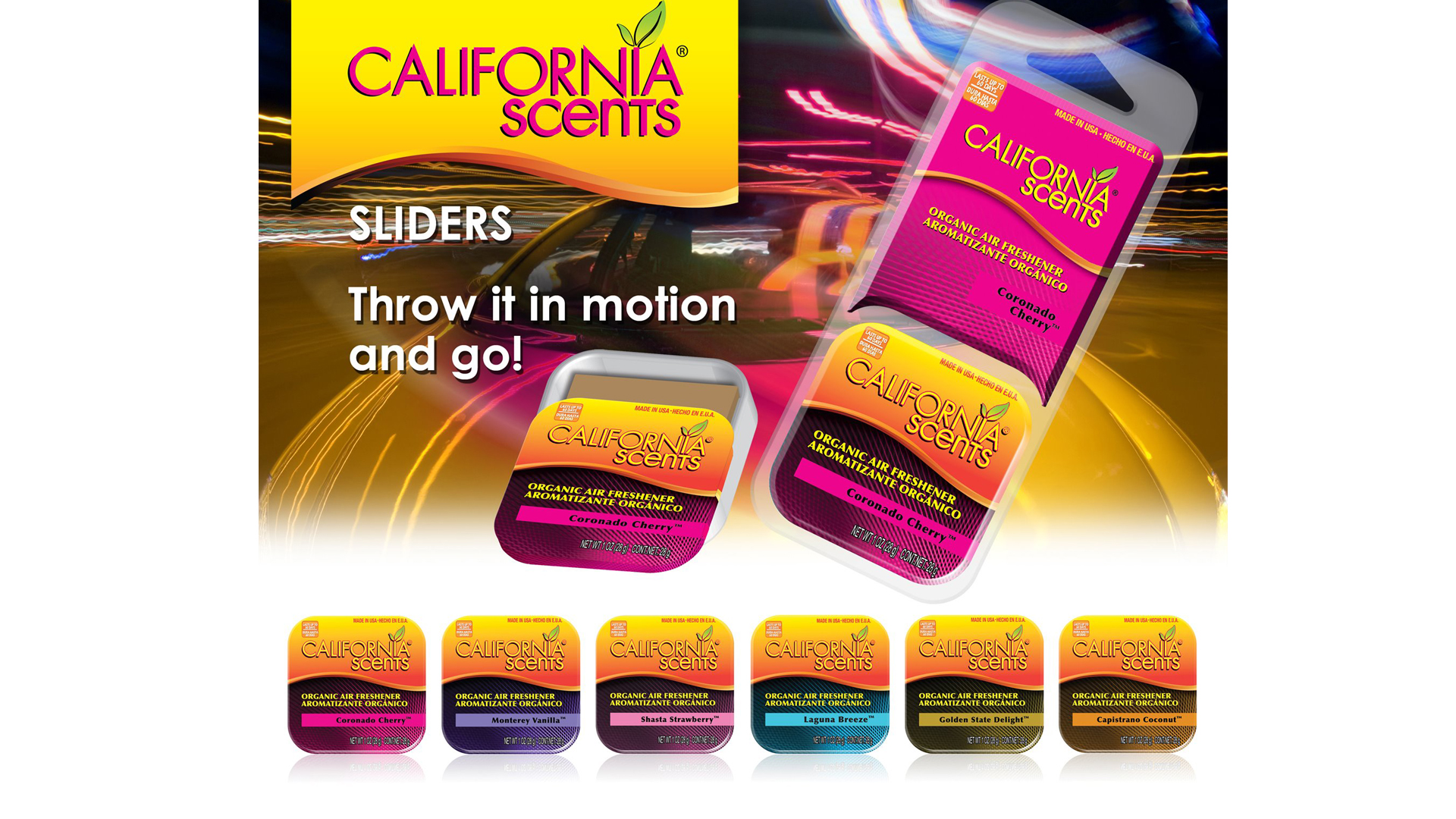 California Scents, consumer  air freshener product packaging and label