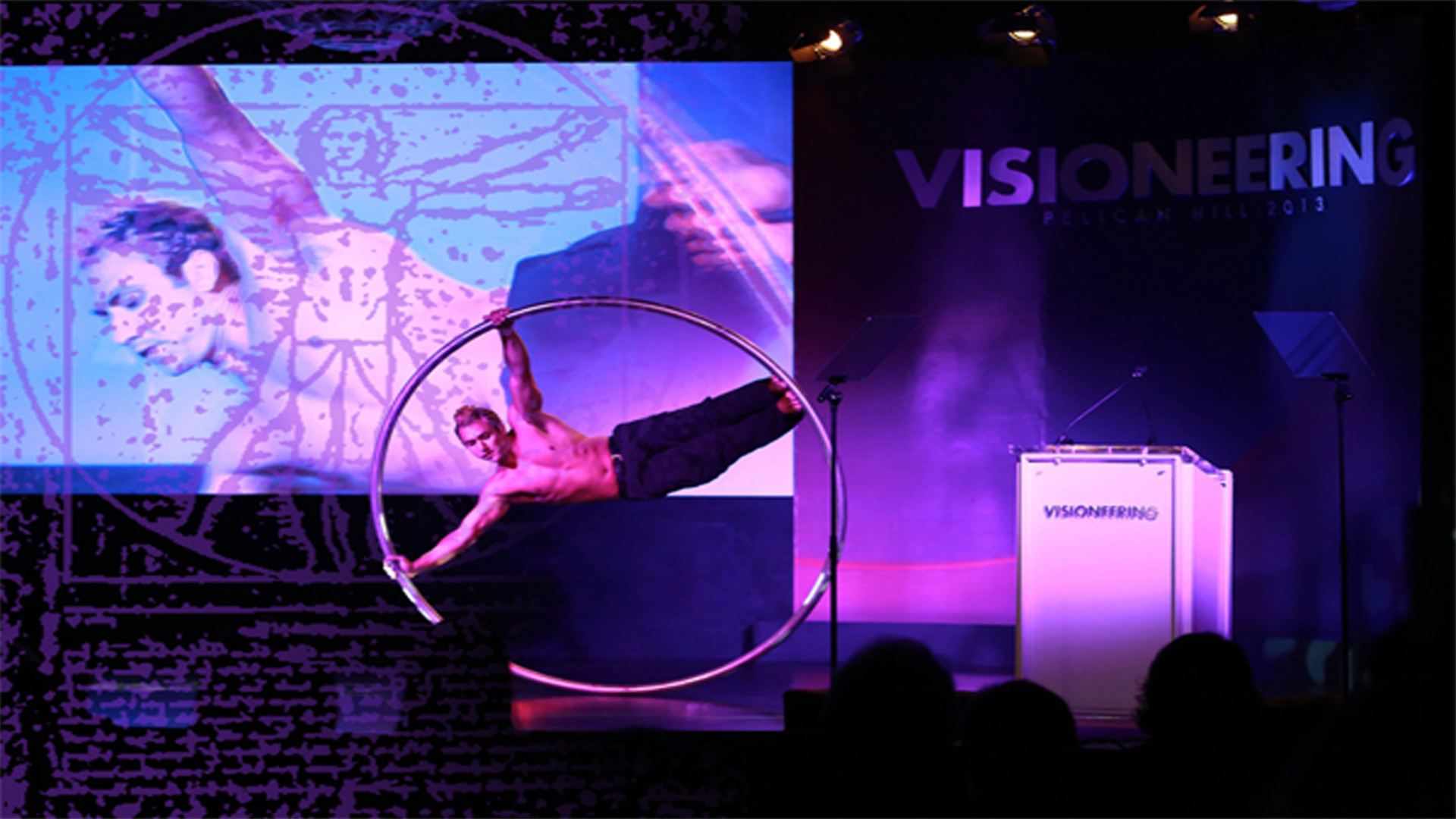 XPize Foundation 4 Day Event Think Tank. Leonardo's Vitruvian Man live opening night ceremony