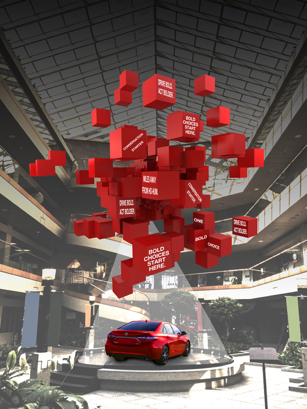 Concept illustration for NEW 2015 Toyota Camry Launch Inside Building Banner Program concept  for Toyota Corporate