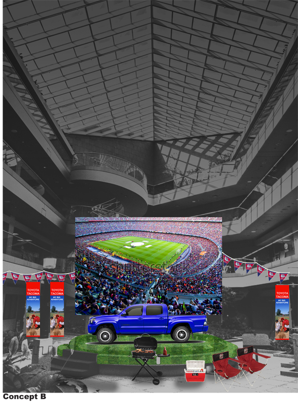 Concept illustration for NEW 2016 Toyota Tacoma Launch Inside Building Banner Program concept  for Toyota Corporate atrium.