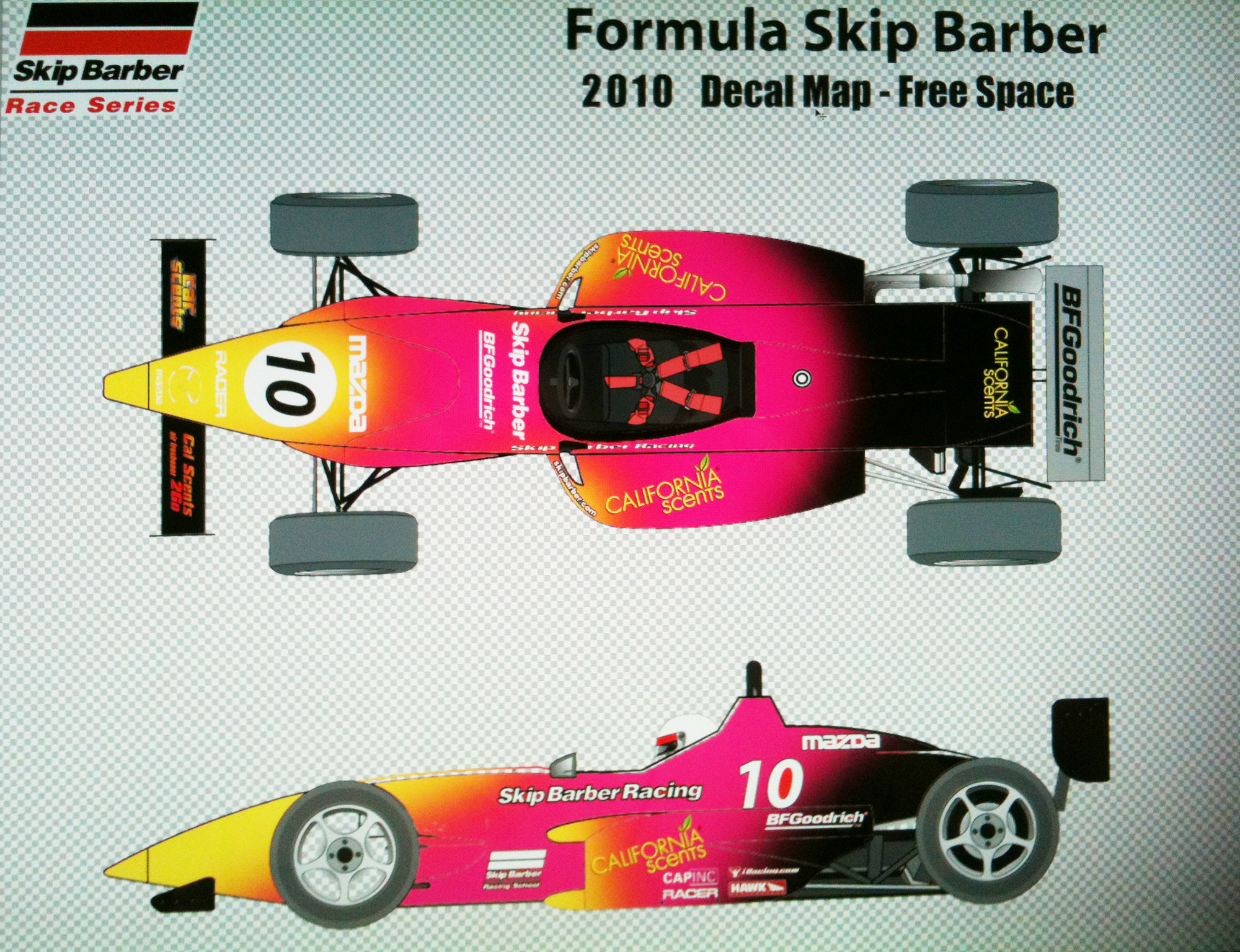 Concept Formula 1 illustration auto wrap for  California Scents trade show Booth in Vegas