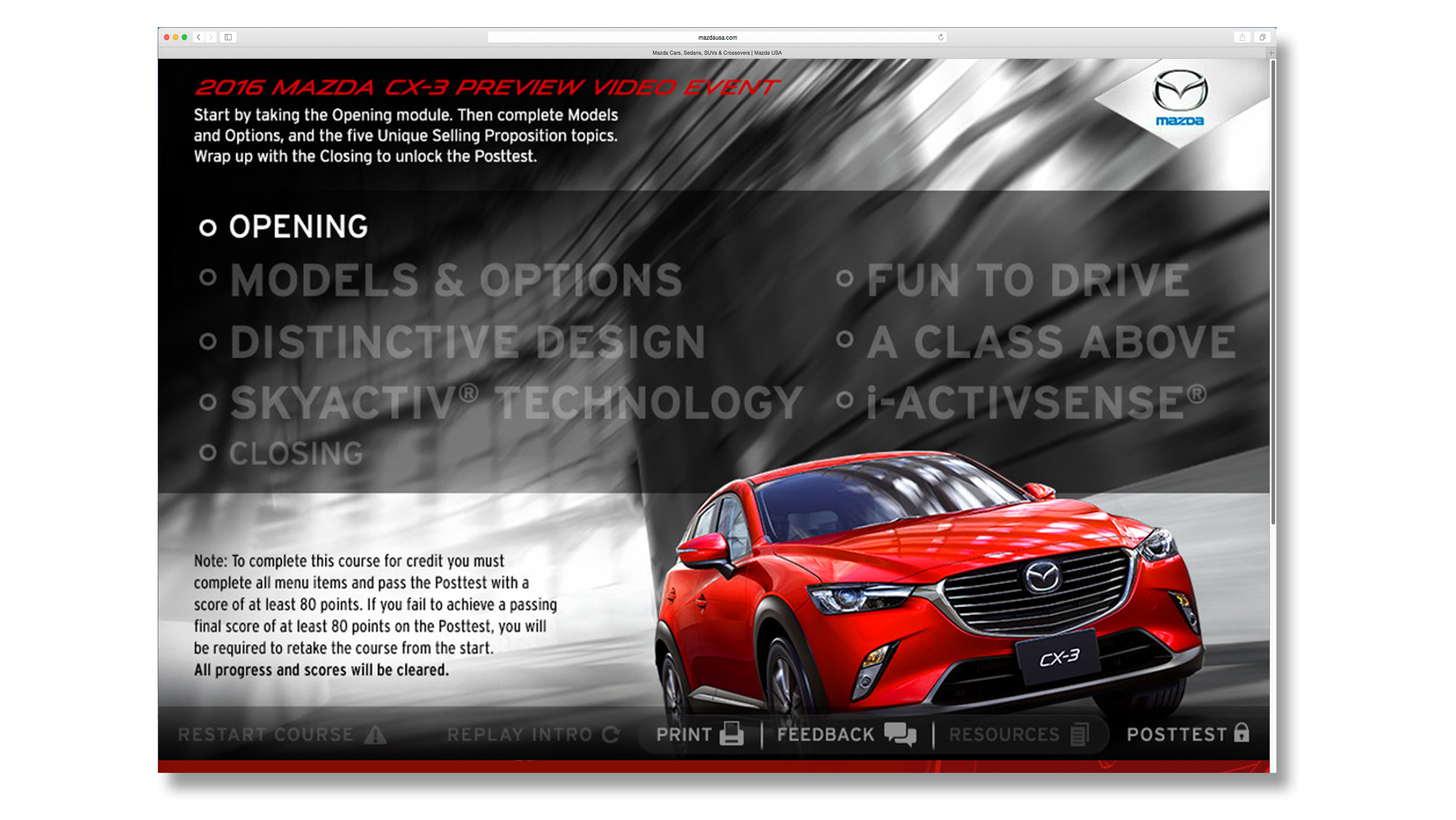 Mazda Digital Training Module