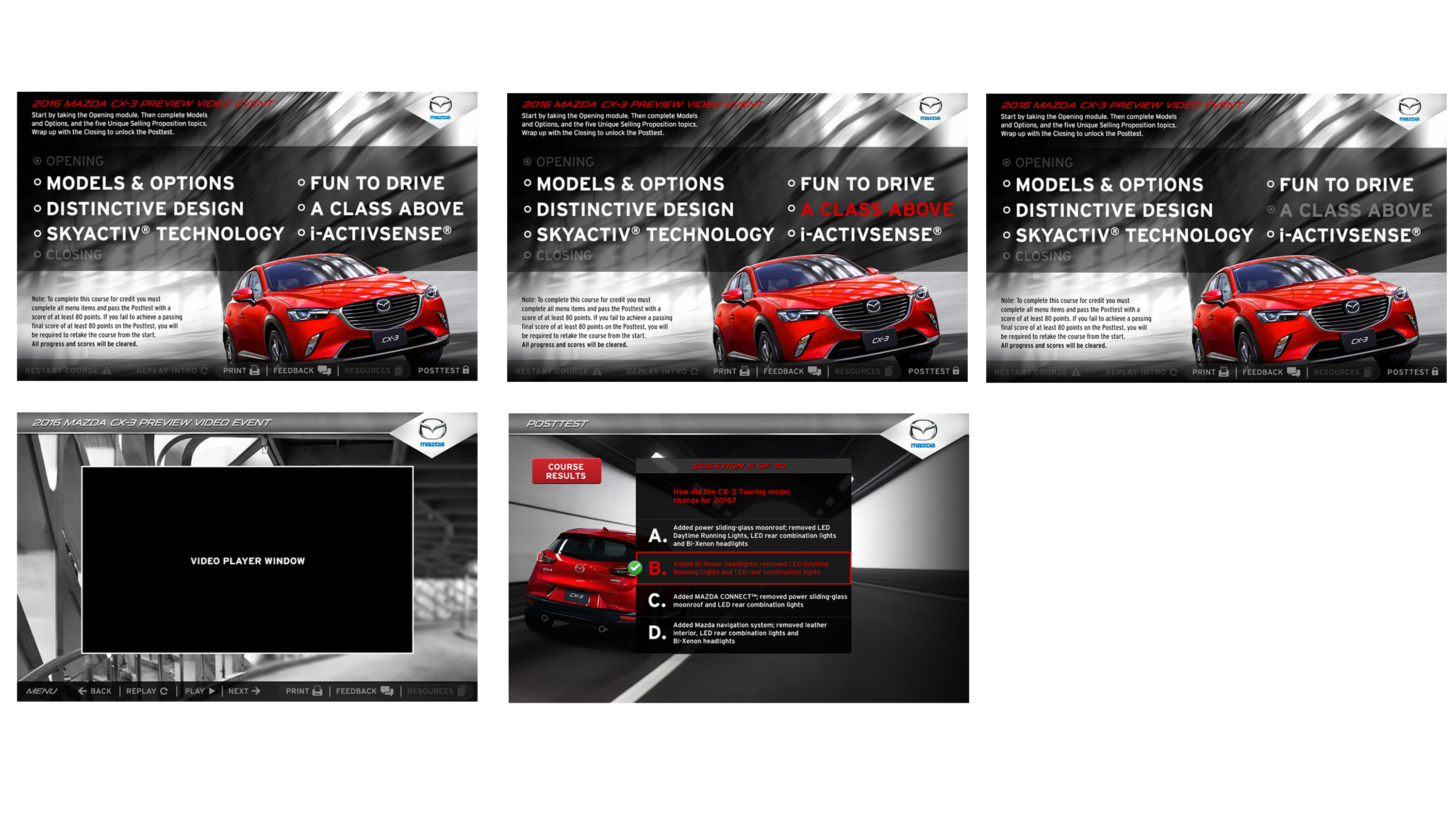 Mazda Digital Training Module Digital design screens for courses