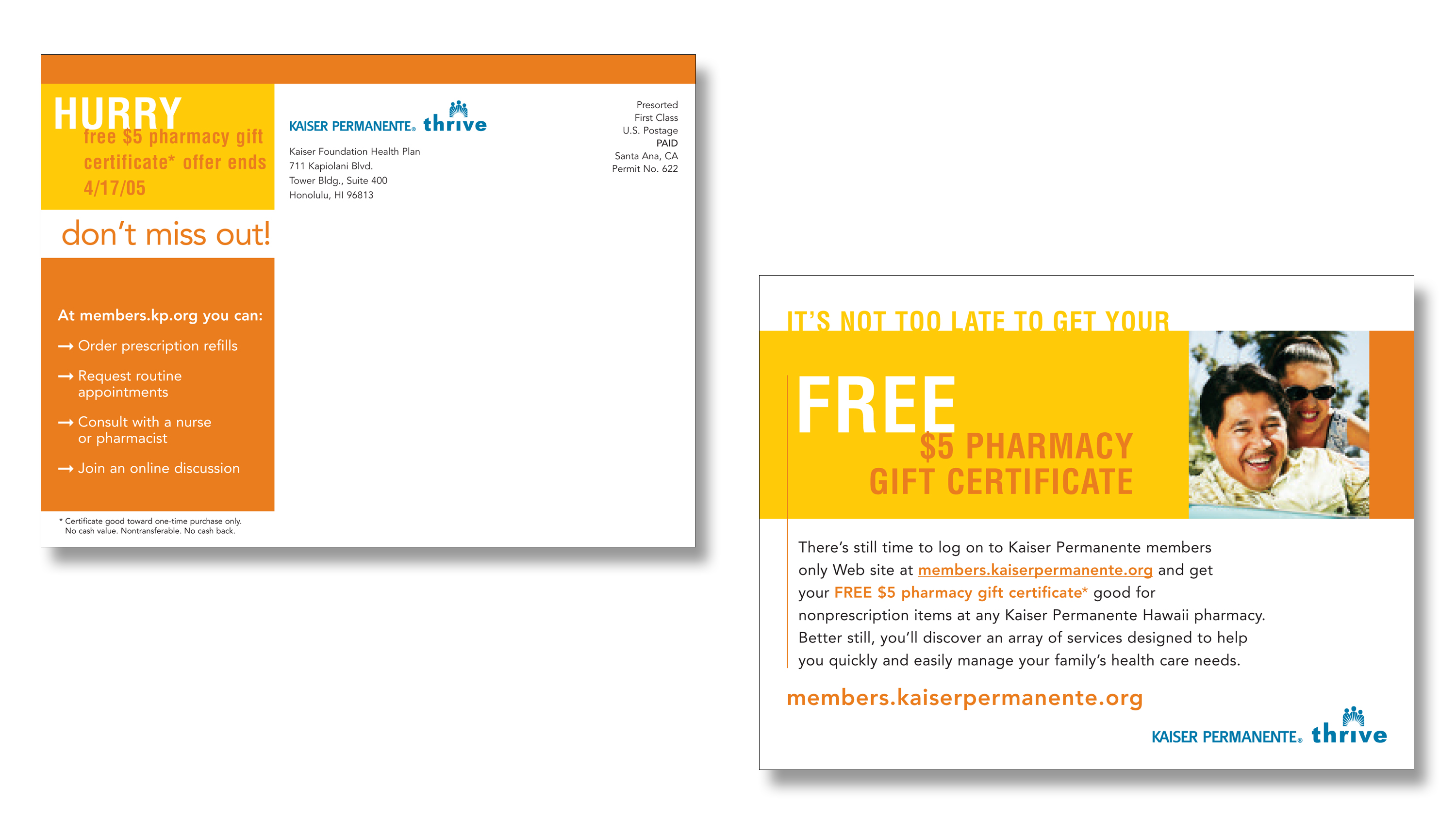 Kaiser Permanente membership Drive Direct Mail Campaign