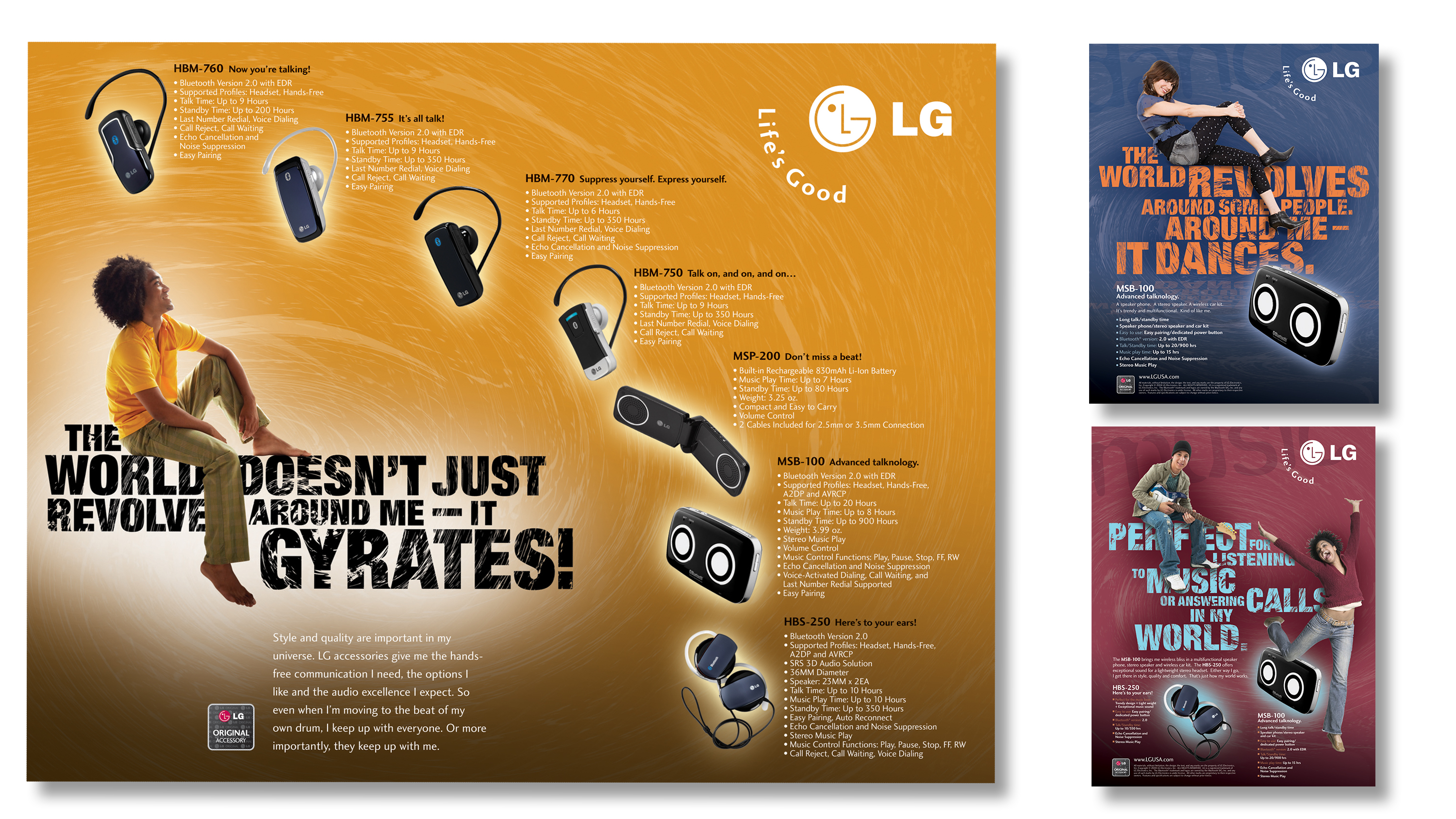 LGE Mobile Product Ads. Benefit featured headlines for a young trade and consumer advertising.