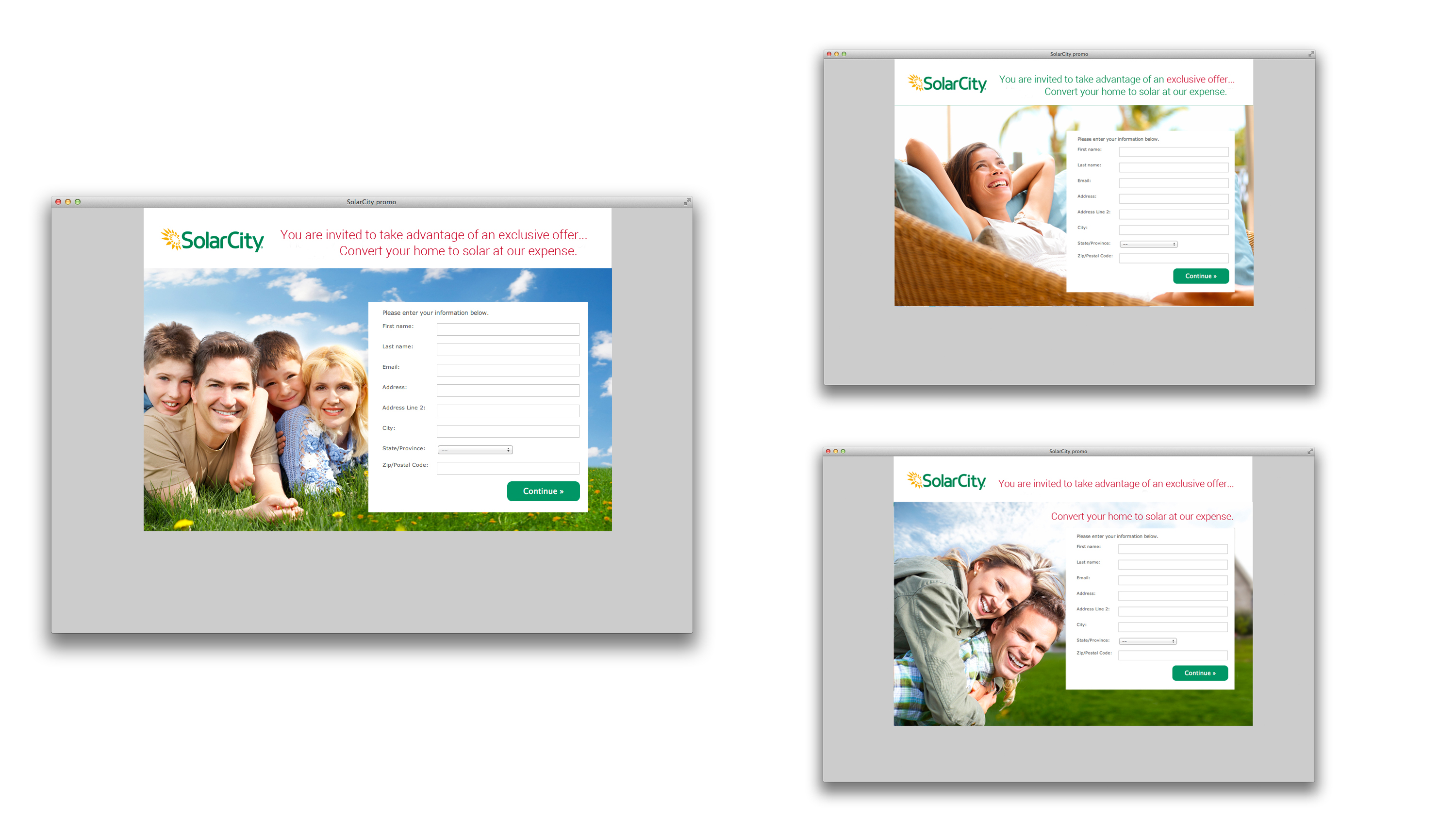 Micro Site for SolarCity exclusive Offer Digital Direct Mail These site were set up and sent out to test markets in young couples, single person and young families.